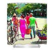 Pretty Pink Summer Dress Sunny Stroll Licari St Denis Scene Montreal Bike Racks And Flowers Cspandau Shower Curtain