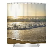 Pretty Waves At Glowing Sunrise By Kaye Menner Shower Curtain