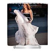 Pretty Woman With Gun Behind The Veil Shower Curtain