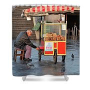 Pretzel Seller With Pushcart Istanbul Turkey Shower Curtain
