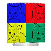 Primary And Green Cats Shower Curtain