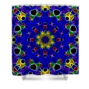 Primary Colors Fractal Kaleidoscope Shower Curtain