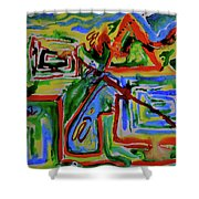 Primary Study I The Map Shower Curtain
