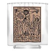 Primitive Crucifixion Shower Curtain