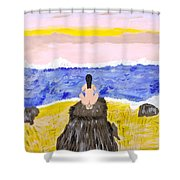 Primitive Woman Crouching Shower Curtain