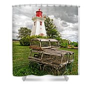 Prince Edward Island Lighthouse With Lobster Traps Shower Curtain by Edward Fielding