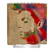 Prince Watercolor Portrait On Worn Distressed Canvas Shower Curtain