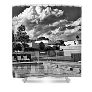 Pristine Pool Bw Marrakesh Palm Springs Shower Curtain