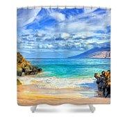 Private Beach At Wailea Maui Shower Curtain