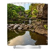 Private Pool Paradise - The Beautiful Scene Of The Seven Sacred Pools Of Maui. Shower Curtain