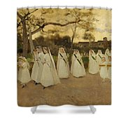 Procession Of Schoolgirls Shower Curtain