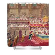 Procession Of The Dean And Prebendaries Of Westminster Bearing The Regalia, From An Album Shower Curtain