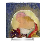 Profile Of A Girl With Flowers Shower Curtain