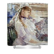 Profile Of A Seated Young Woman Shower Curtain by Berthe Morisot