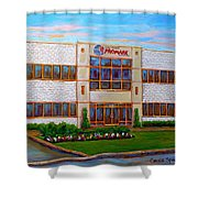 Promark Electronics 215 Voyageur Street Pointe Claire Montreal Scene Shower Curtain