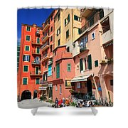 promenade and homes in Camogli Shower Curtain