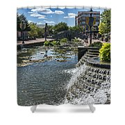 Promenade And Waterfall In Carroll Creek Park In Frederick Mary Shower Curtain