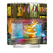 Prometheus Sculpture In Rockefeller Center  Shower Curtain