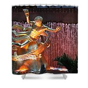 Prometheus Statue - Rockefeller Center Nyc Shower Curtain