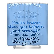 Promise Me - Winnie The Pooh - Blue Shower Curtain