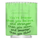 Promise Me - Winnie The Pooh - Green Shower Curtain