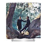 Proposing In A Tree Shower Curtain