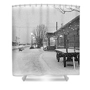Prosser Winter Train Station  Shower Curtain