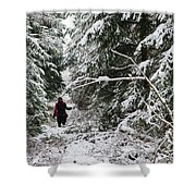 Protective Forest In Winter With Snow Covered Conifer Trees Shower Curtain