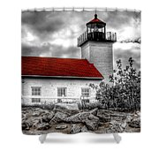 Protector Of The Harbor - Sand Point Lighthouse Shower Curtain