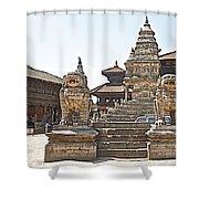 Protector Sculptures Near The Boundary Of Bhaktapur Durbar Square In Bhaktapur-nepal Shower Curtain