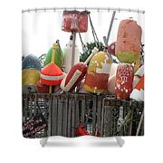 Provencetown Lobster Buoys Shower Curtain