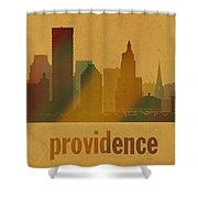 Providence Rhode Island City Skyline Watercolor On Parchment Shower Curtain