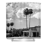 Ps City Hall Front Bw Palm Springs Shower Curtain