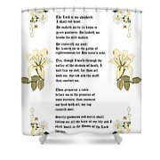 Psalm 23 From The Holy Bible Shower Curtain by Anne Norskog