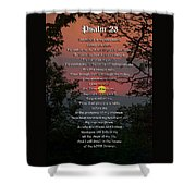 Psalm 23 Prayer Over Sunset Landscape Shower Curtain by Christina Rollo