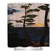 Psalms 136 Verse 7 And 8 Left Panel Shower Curtain