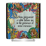 Psalms 23-5a Shower Curtain