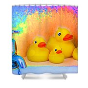 Psychedelic Ducks And Faucet Shower Curtain