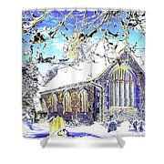 Psychedelic English Village Church In Winter Shower Curtain