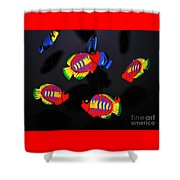 Psychedelic Flying Fish Shower Curtain