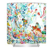 Psychedelic Goddess With Toads Shower Curtain