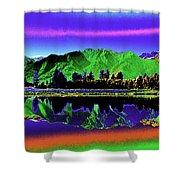 Psychedelic Lake Matheson Ner Zealand 3 Shower Curtain