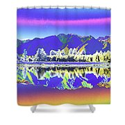 Psychedelic Lake Matheson New Zealand 2 Shower Curtain