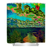 Psychedelic Skyline Over Spokane River #2 Shower Curtain