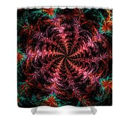 Psychedelic Spiral Vortex Purple Pink And Teal Fractal Flame Shower Curtain