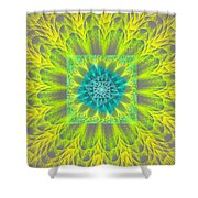 Psychedelic Spiral Vortex Yellow And Gray Fractal Flame Shower Curtain