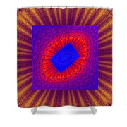 Psychedelic Spiral Vortex Yellow Blue And Red Fractal Flame Shower Curtain