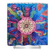Psychedelic Squid 2 Shower Curtain