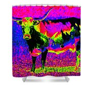 Psychedelic Texas Longhorn Shower Curtain