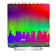 Psychedelic Vancouver Skyline Triptych Centre Shower Curtain